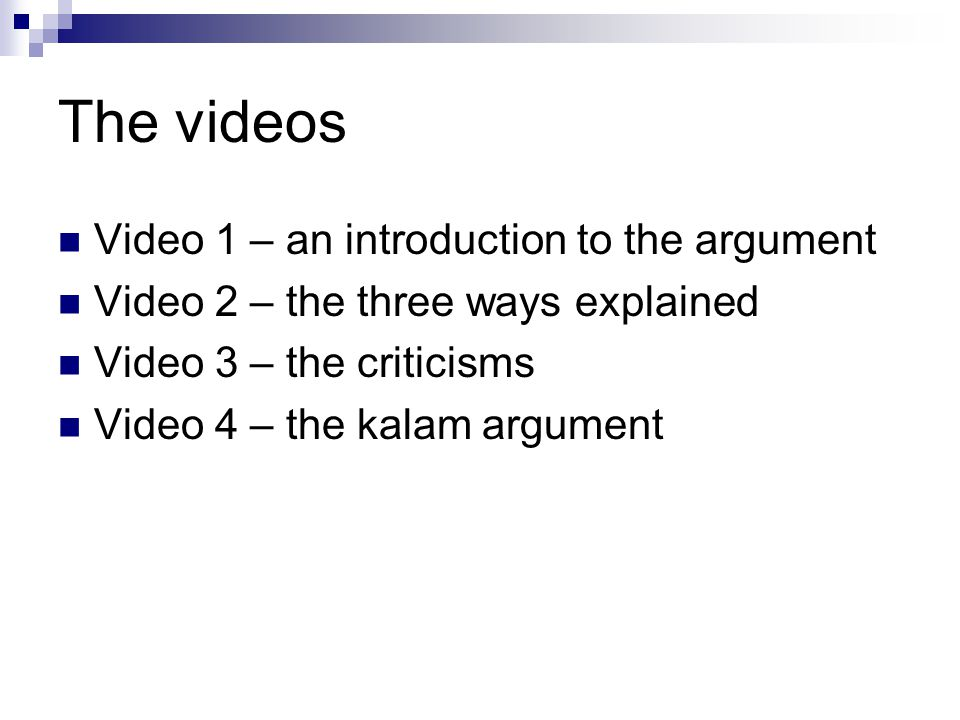 The videos Video 1 – an introduction to the argument