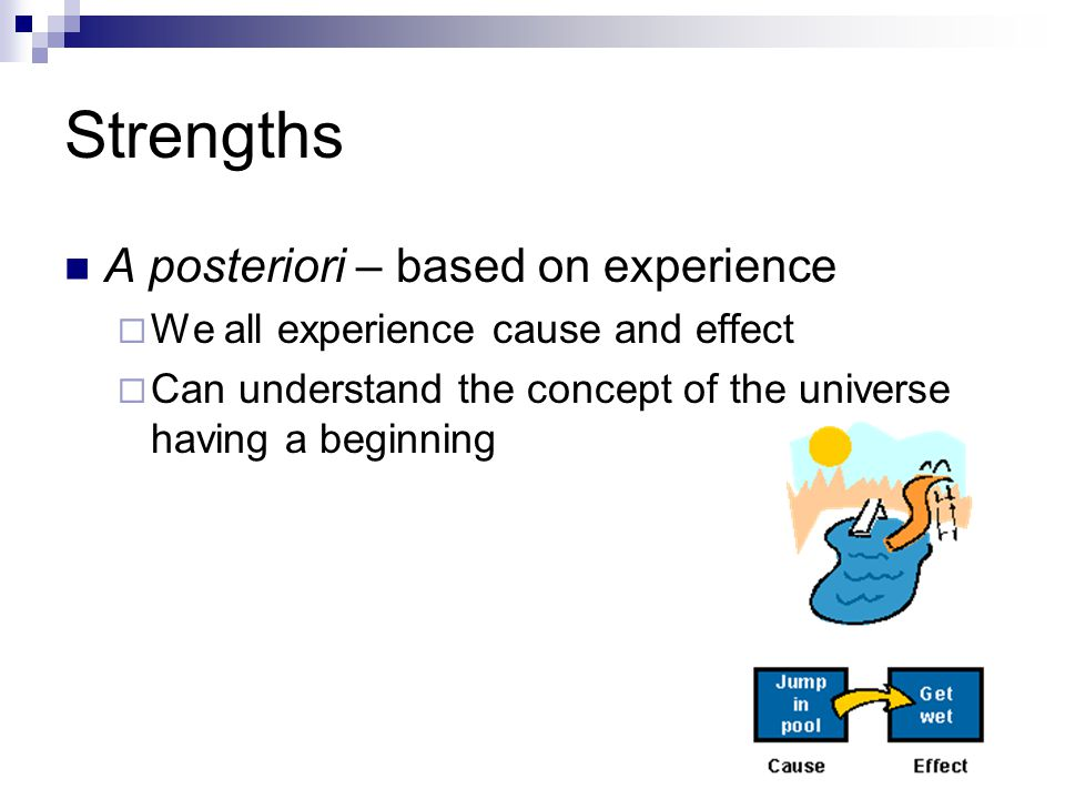 Strengths A posteriori – based on experience