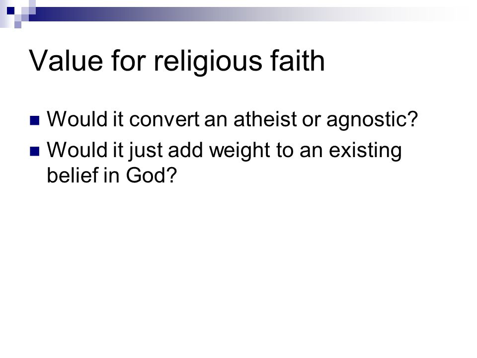 Value for religious faith