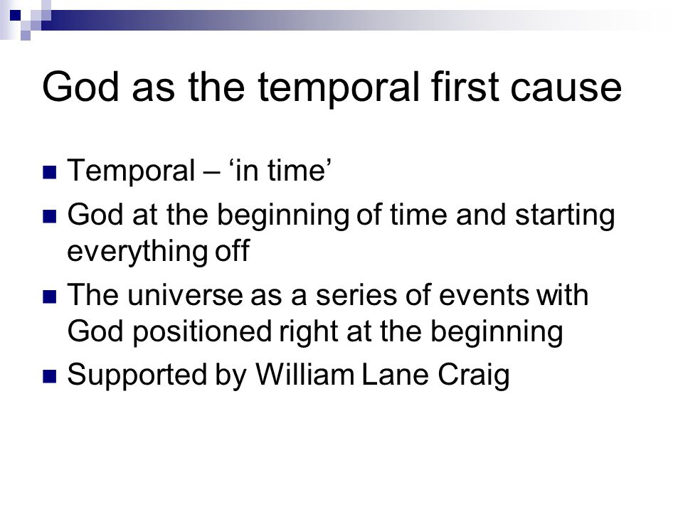 God as the temporal first cause