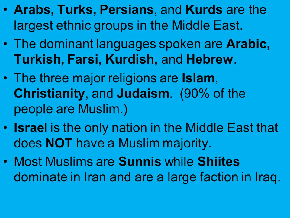 Arabs, Turks, Persians, and Kurds are the largest ethnic groups in the Middle East.