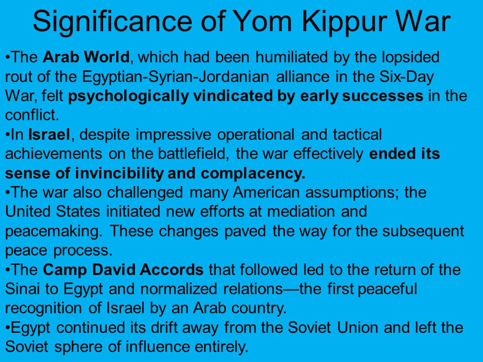Significance of Yom Kippur War