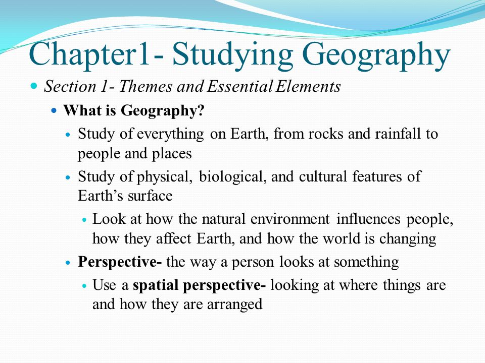 Chapter1- Studying Geography