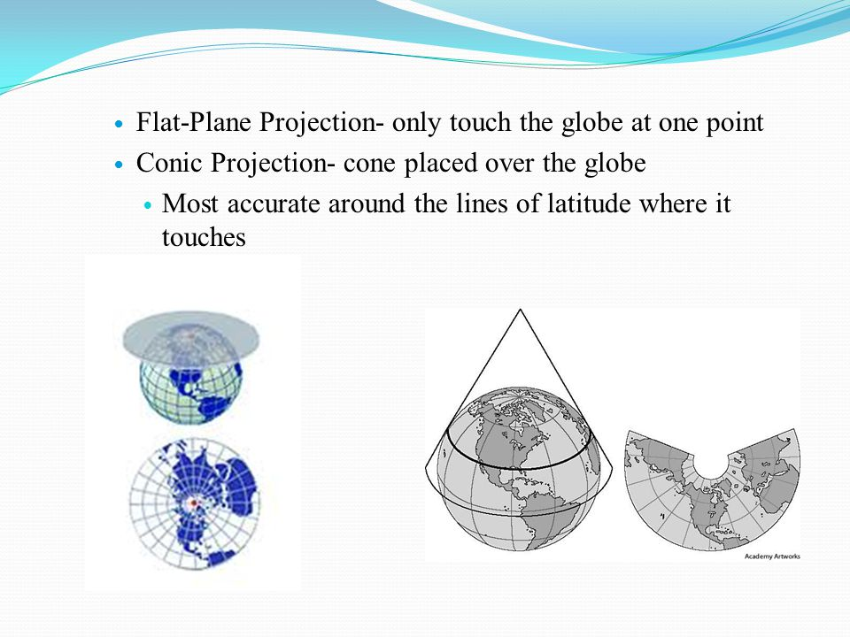 Flat-Plane Projection- only touch the globe at one point