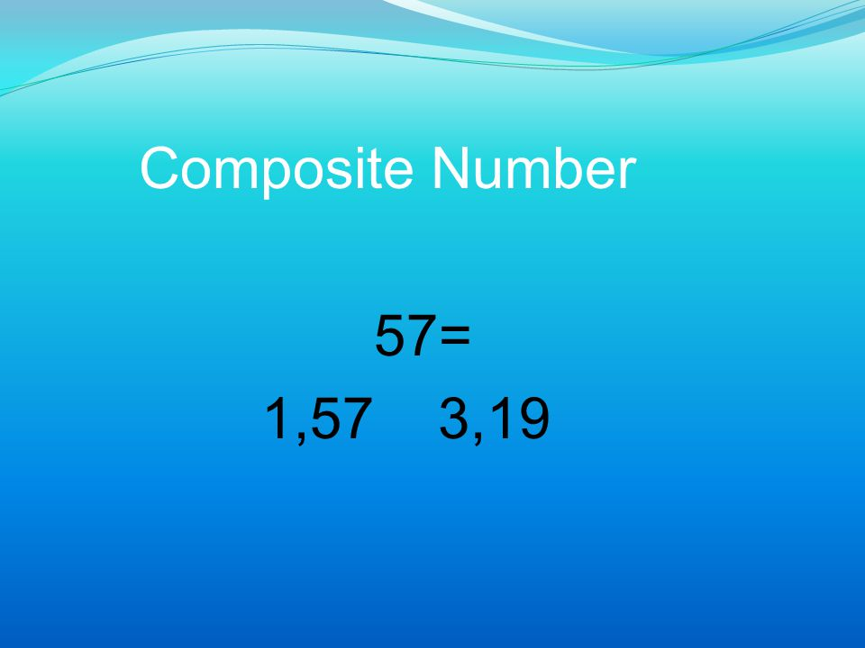Composite Number 57= 1,57 3,19
