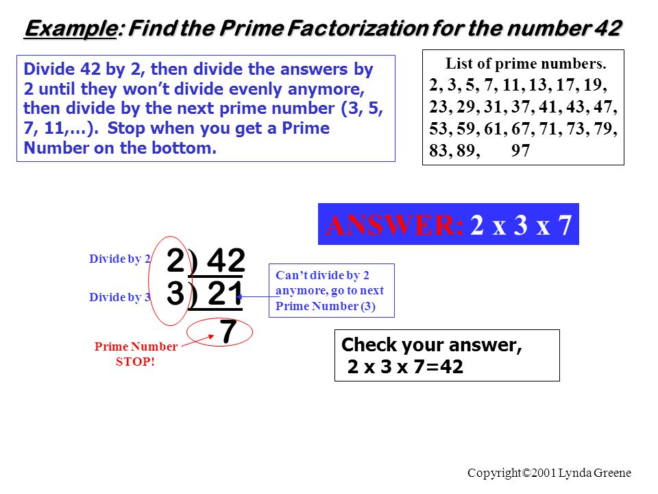 Example: Find the Prime Factorization for the number 42