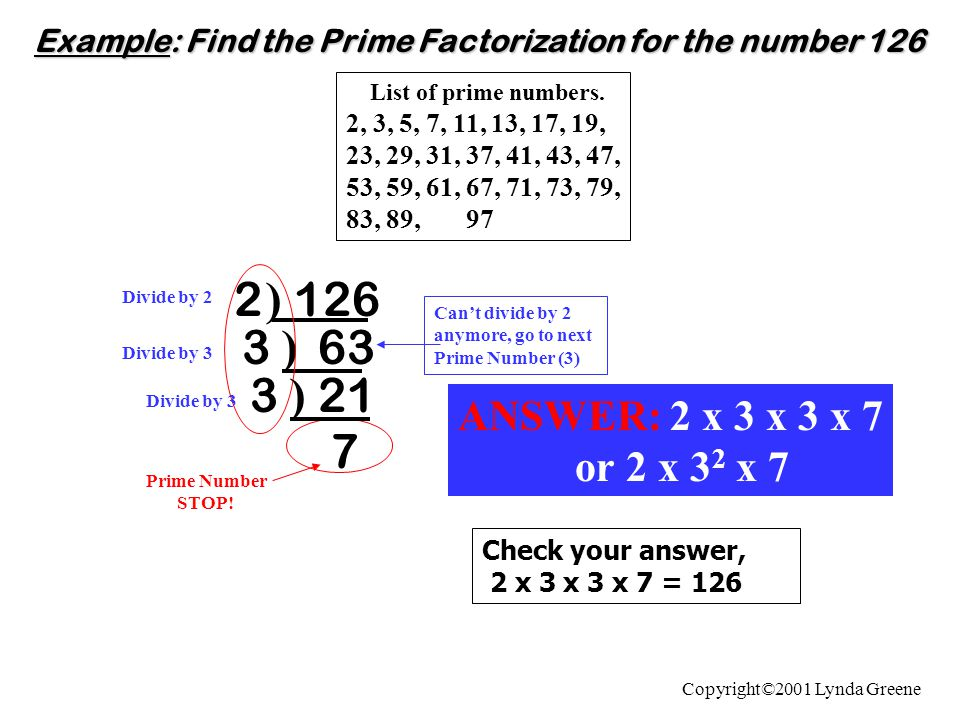 Example: Find the Prime Factorization for the number 126