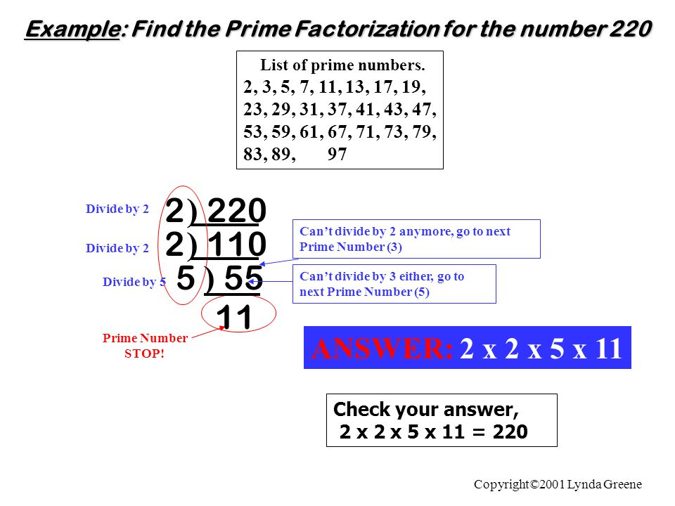 Example: Find the Prime Factorization for the number 220