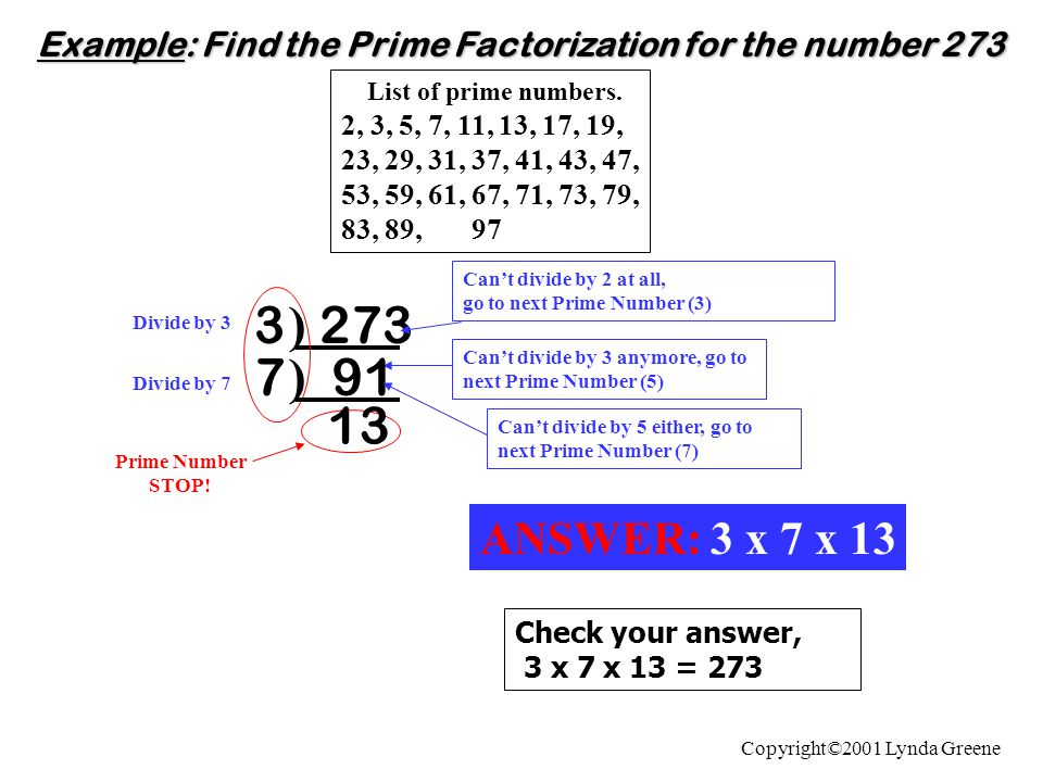 Example: Find the Prime Factorization for the number 273