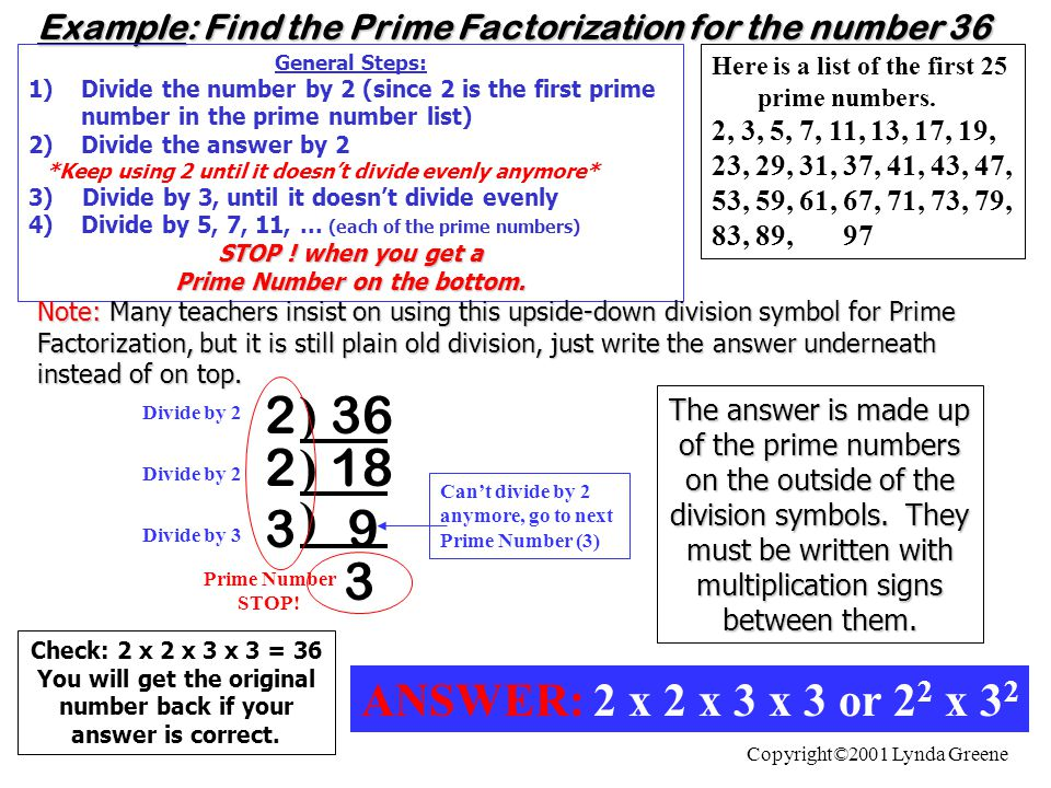 Example: Find the Prime Factorization for the number 36