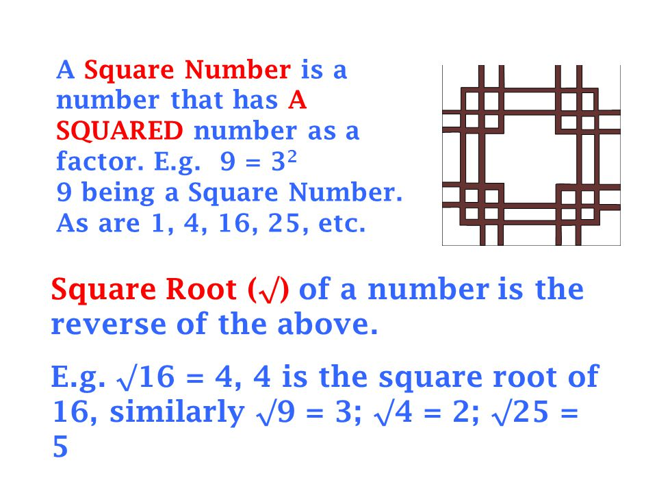Square Root (√) of a number is the reverse of the above.