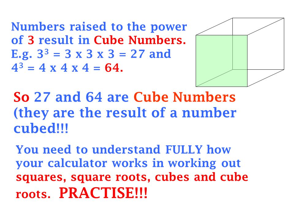 Numbers raised to the power of 3 result in Cube Numbers. E. g