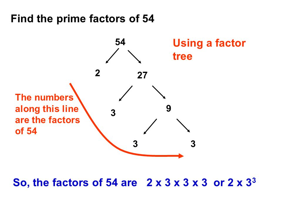 Find the prime factors of 54