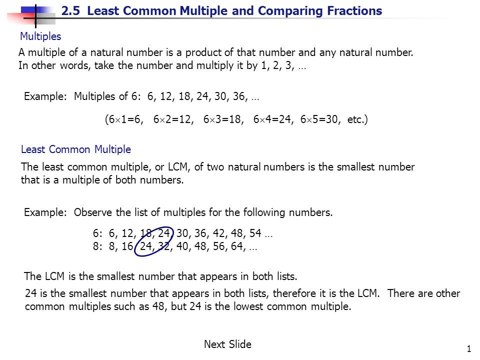 Multiples A multiple of a natural number is a product of that number and any natural number.