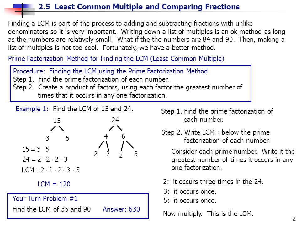 Finding a LCM is part of the process to adding and subtracting fractions with unlike denominators so it is very important. Writing down a list of multiples is an ok method as long as the numbers are relatively small. What if the the numbers are 84 and 90. Then, making a list of multiples is not too cool. Fortunately, we have a better method.