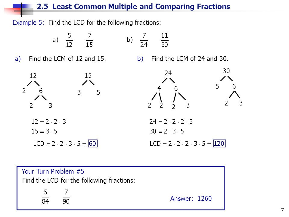 Example 5: Find the LCD for the following fractions: