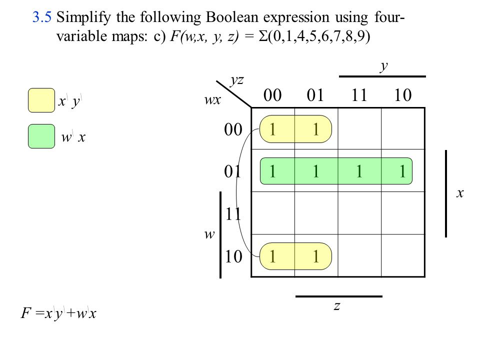 3.5 Simplify the following Boolean expression using four-variable maps: c) F(w,x, y, z) = (0,1,4,5,6,7,8,9)