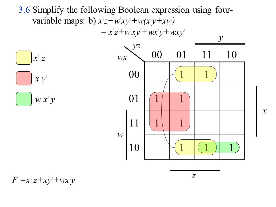 3.6 Simplify the following Boolean expression using four-variable maps: b) x\z+w\xy\+w(x\y+xy\)