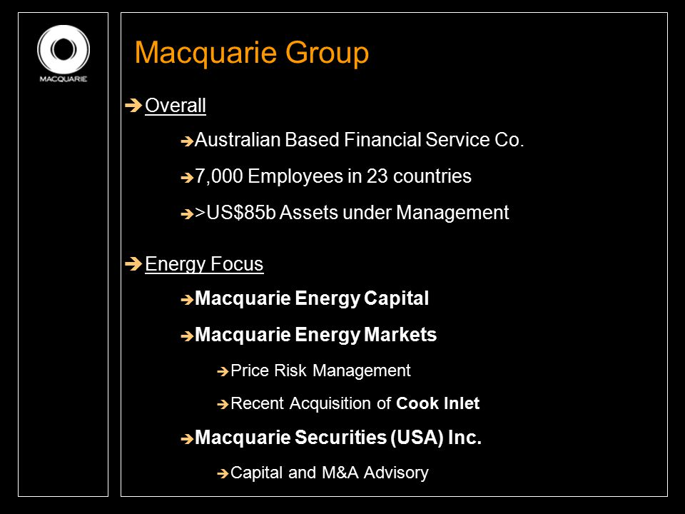 Macquarie Group Overall Australian Based Financial Service Co.