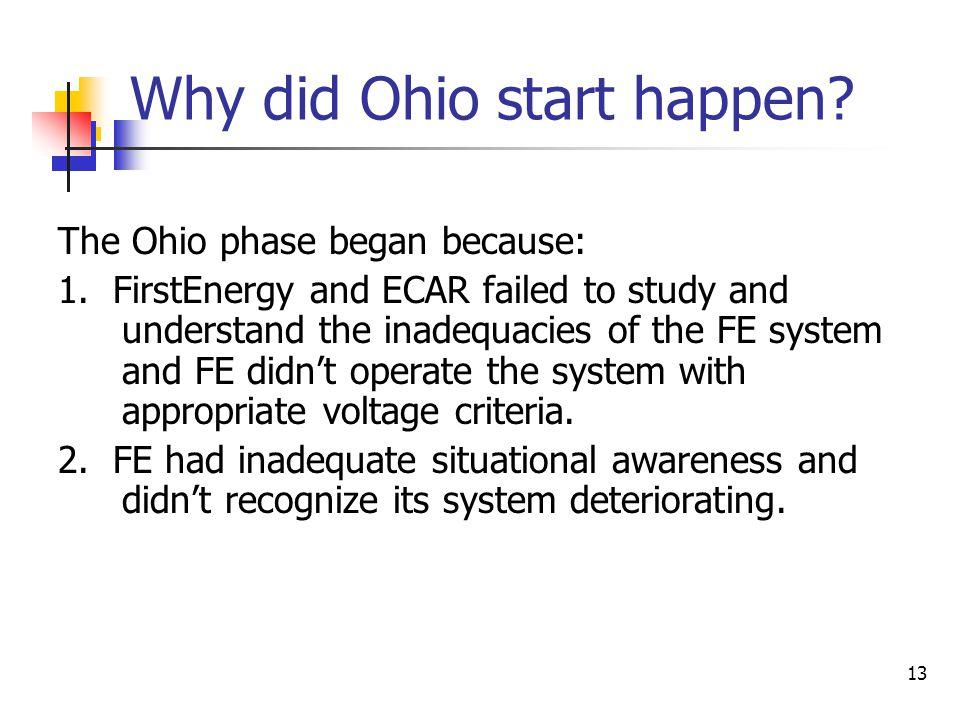 Why did Ohio start happen
