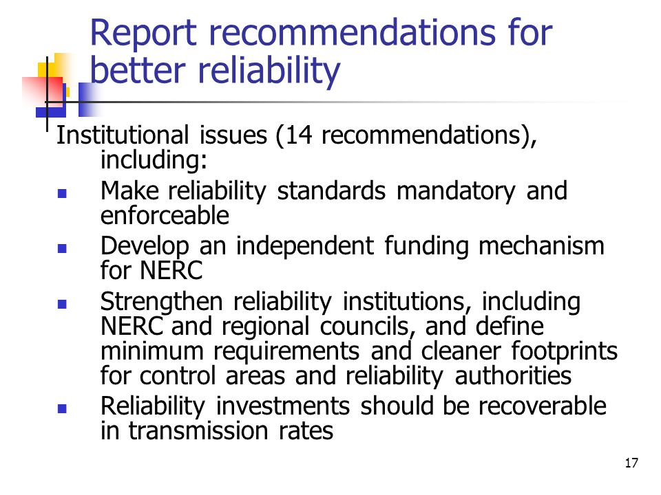Report recommendations for better reliability