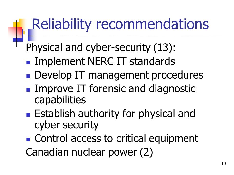 Reliability recommendations