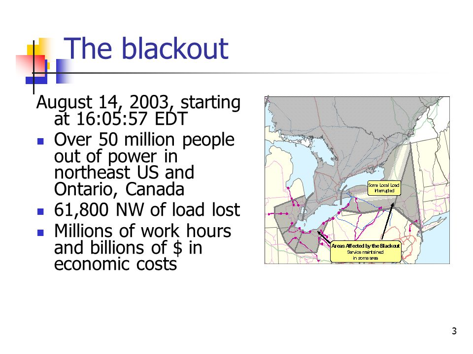 The blackout August 14, 2003, starting at 16:05:57 EDT