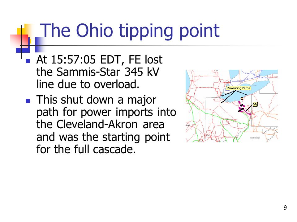The Ohio tipping point At 15:57:05 EDT, FE lost the Sammis-Star 345 kV line due to overload.