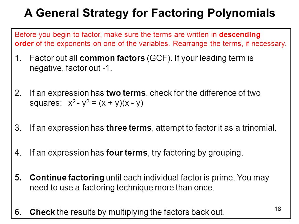A General Strategy for Factoring Polynomials