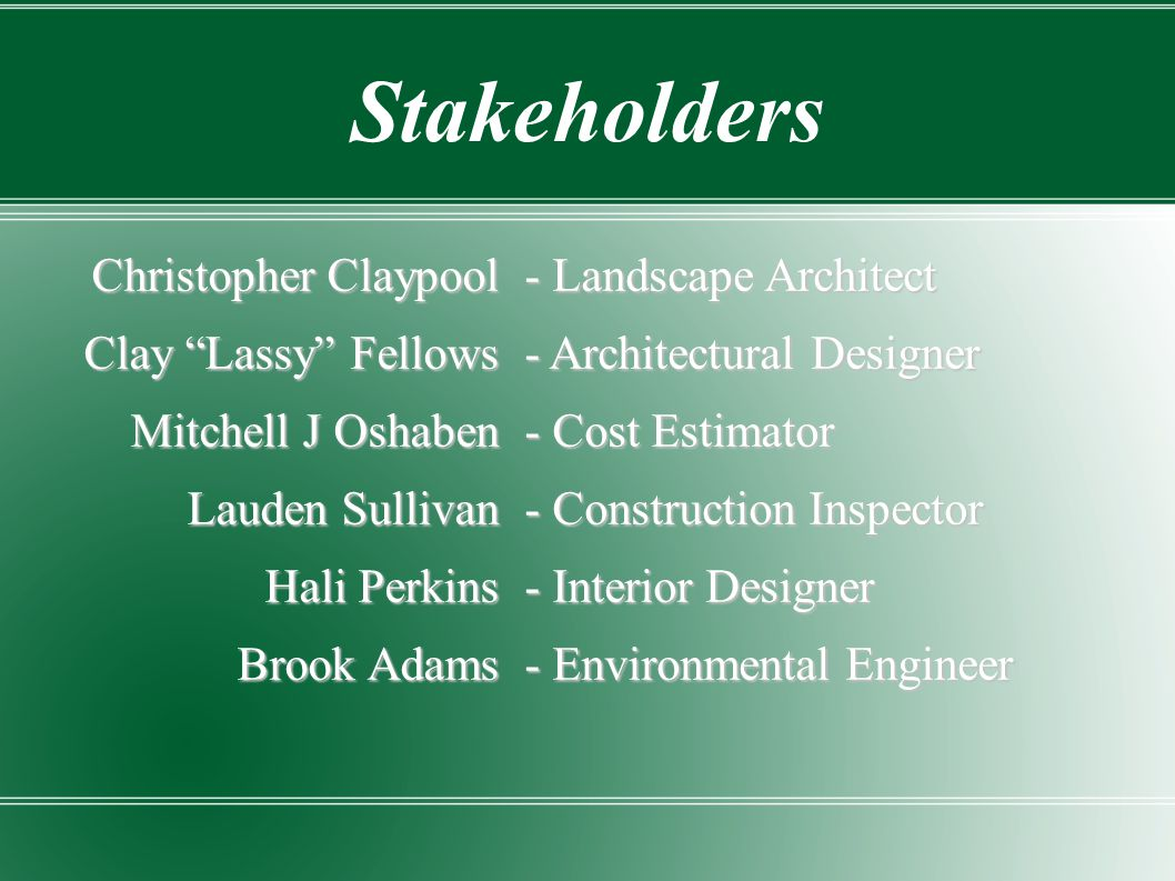 Stakeholders Christopher Claypool Clay Lassy Fellows