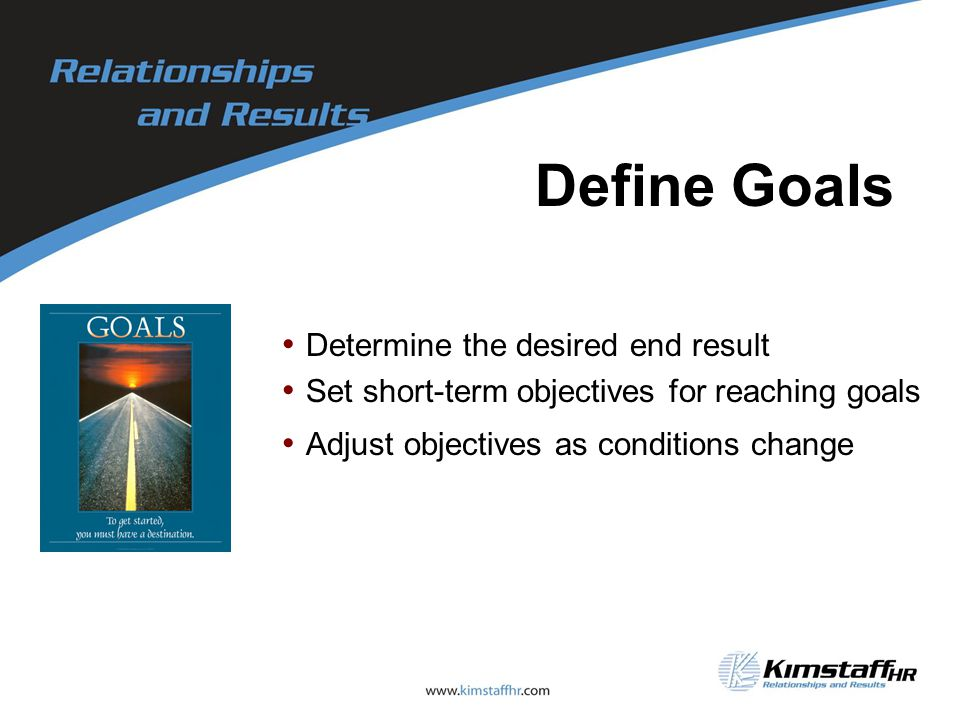 Define Goals Determine the desired end result