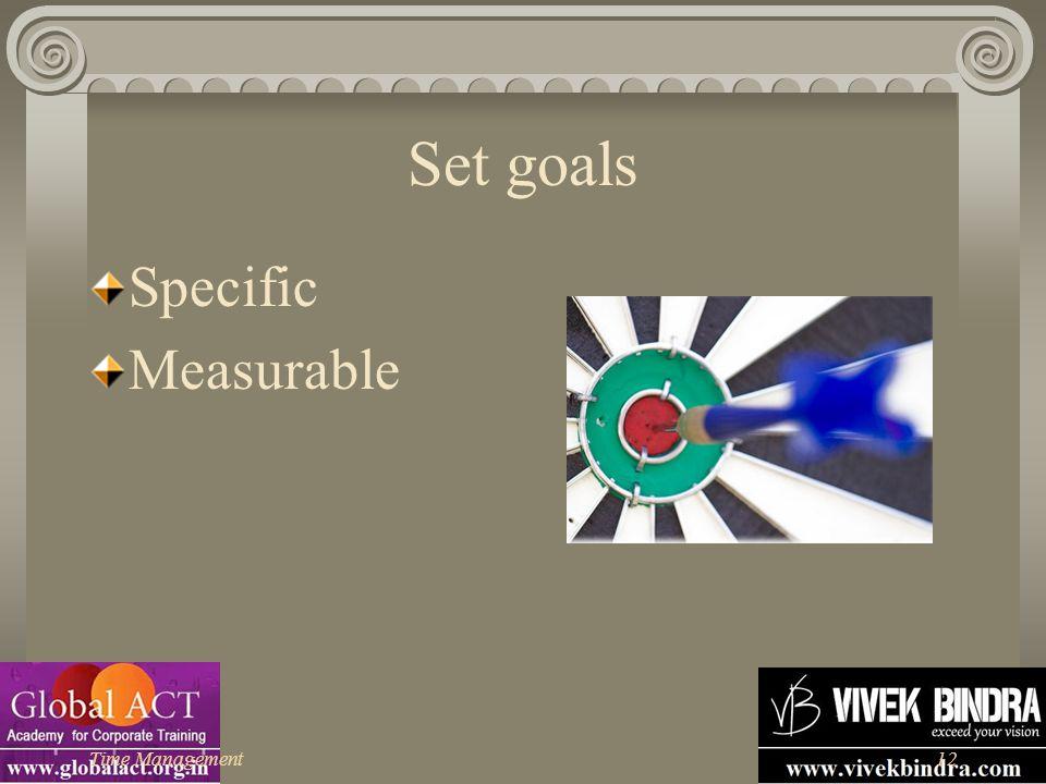 Set goals Specific Measurable Time Management
