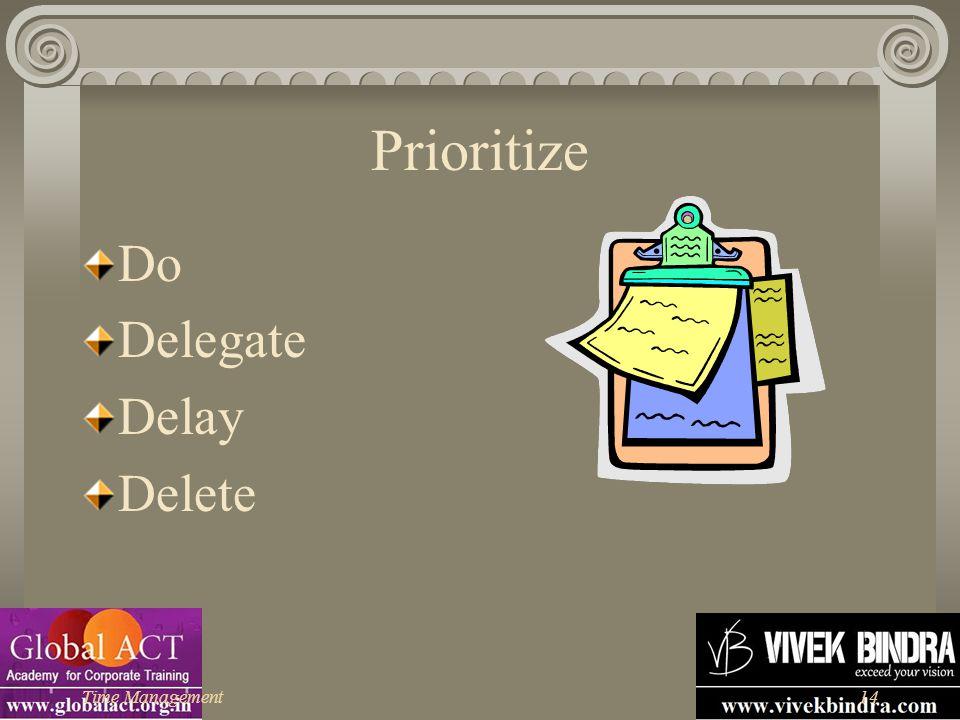 Prioritize Do Delegate Delay Delete Time Management
