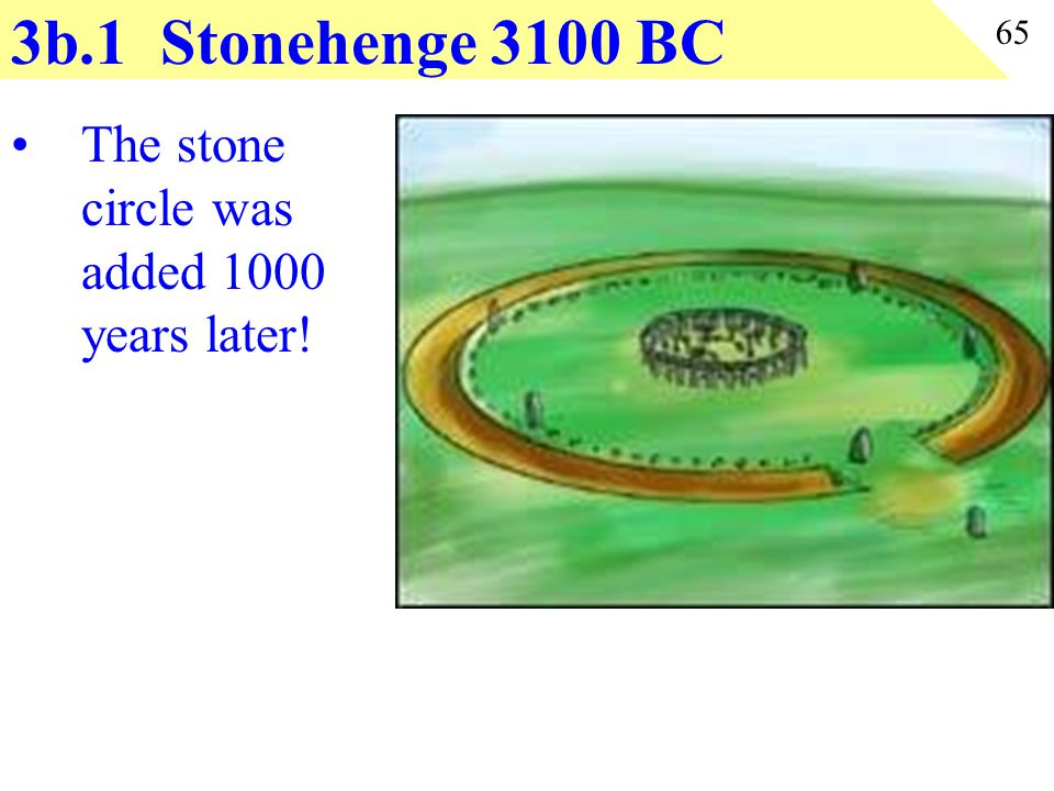 3b.1 Stonehenge 3100 BC The stone circle was added 1000 years later!