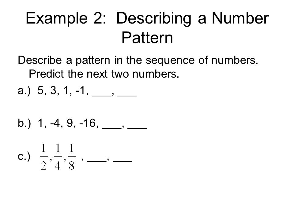 Example 2: Describing a Number Pattern