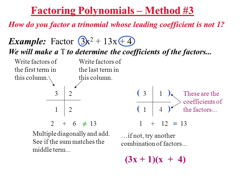 How do you factor a trinomial whose leading coefficient is not 1