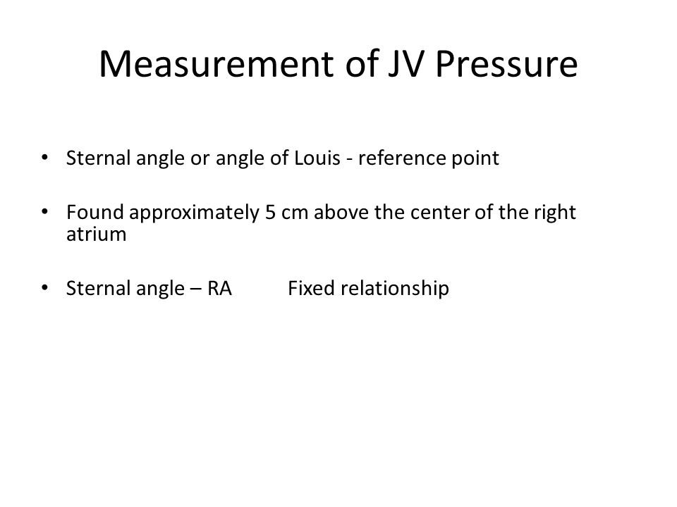 Measurement of JV Pressure