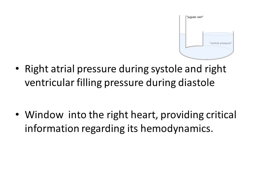 Right atrial pressure during systole and right ventricular filling pressure during diastole