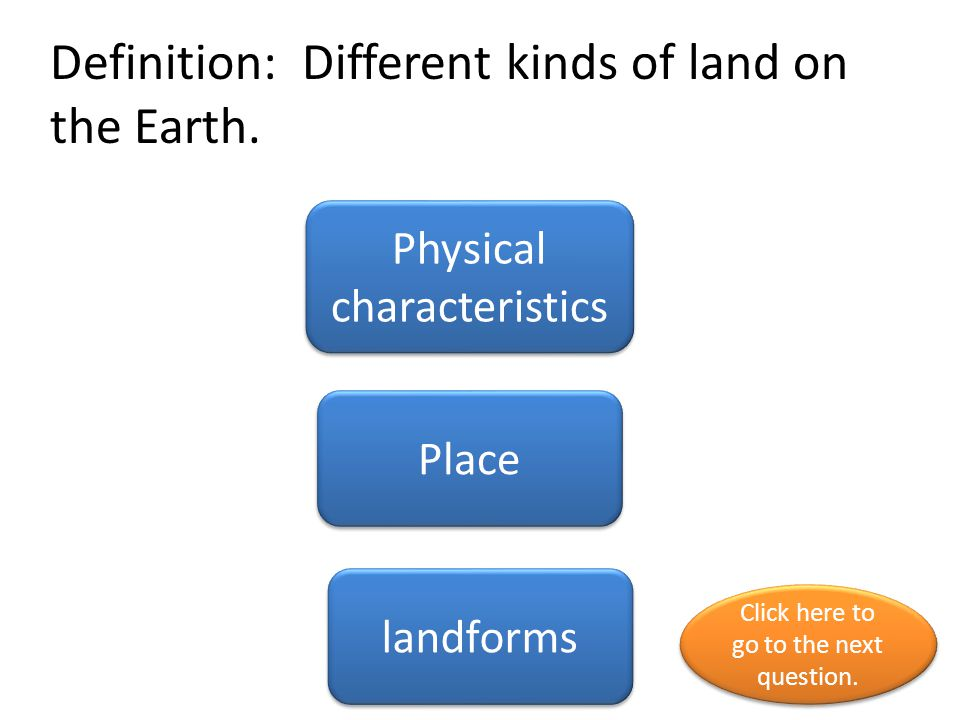 Definition: Different kinds of land on the Earth.