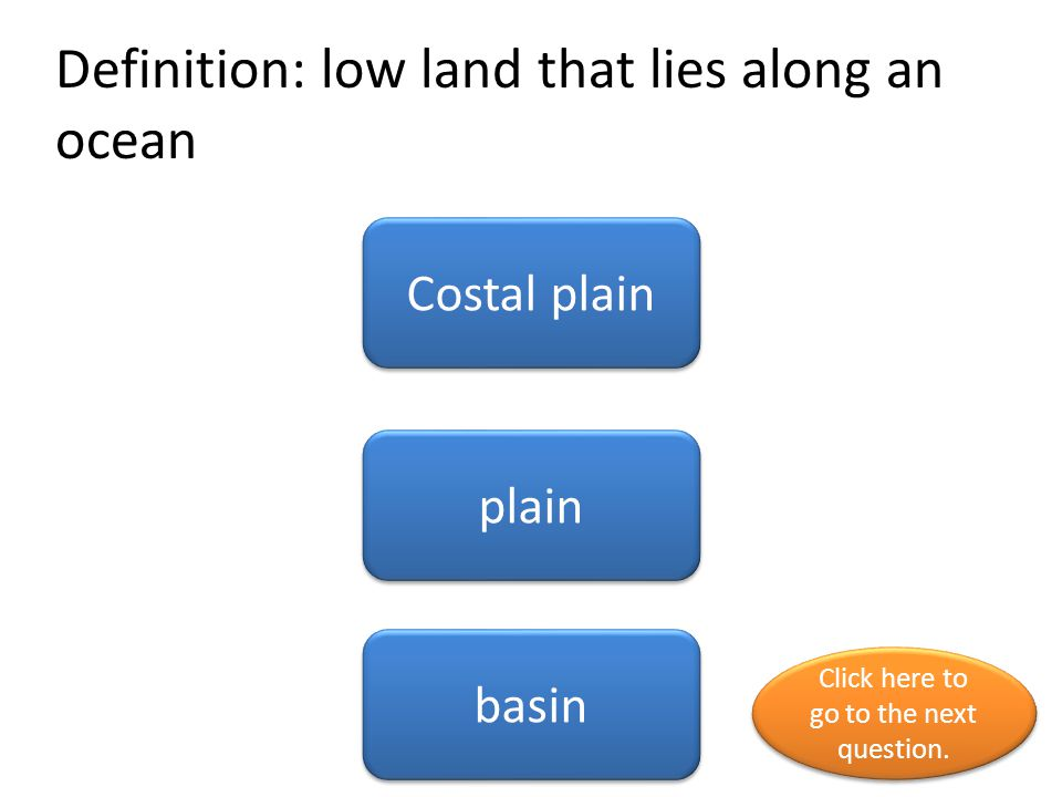 Definition: low land that lies along an ocean