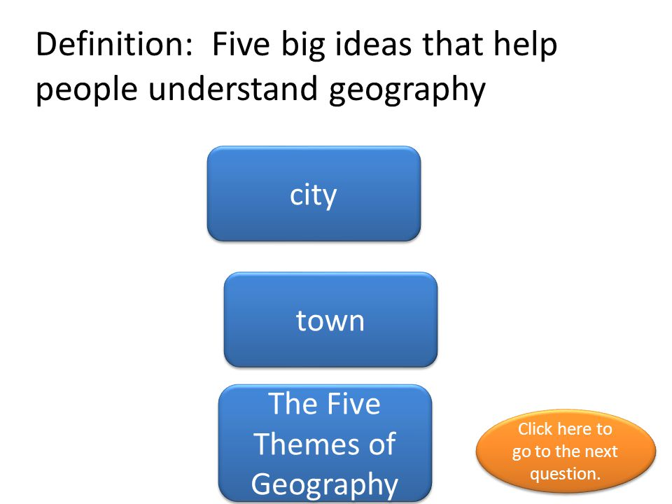 Definition: Five big ideas that help people understand geography