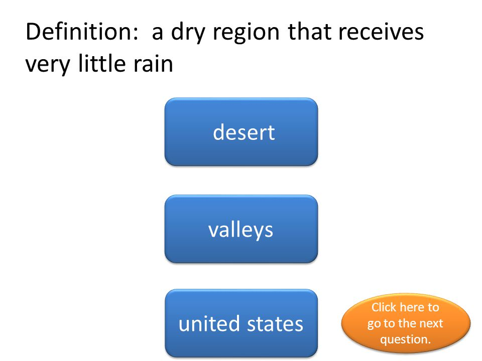 Definition: a dry region that receives very little rain
