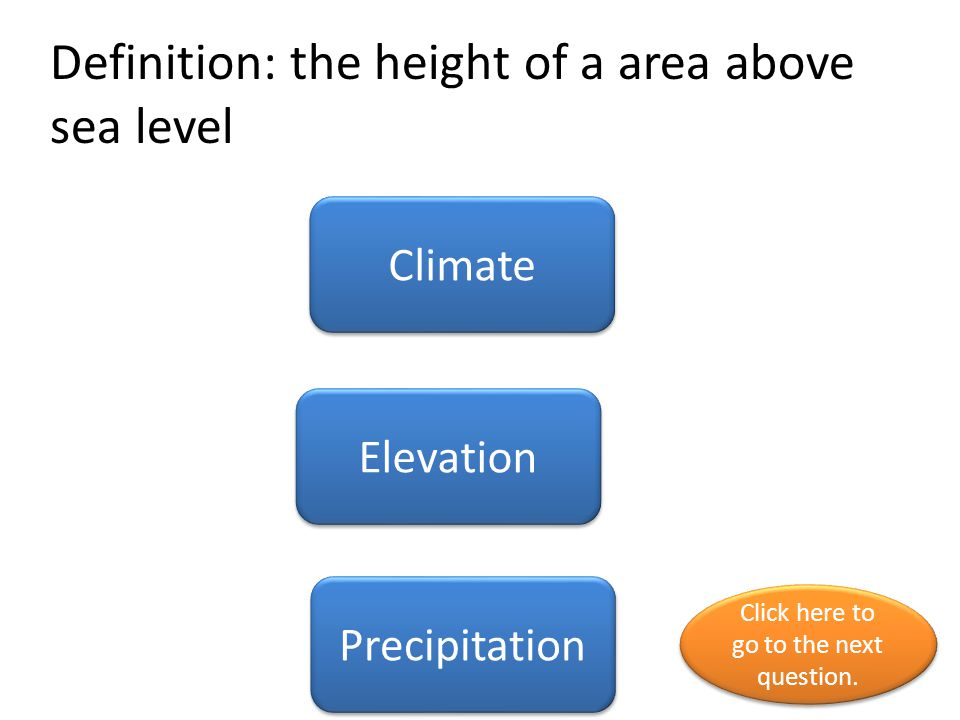 Definition: the height of a area above sea level