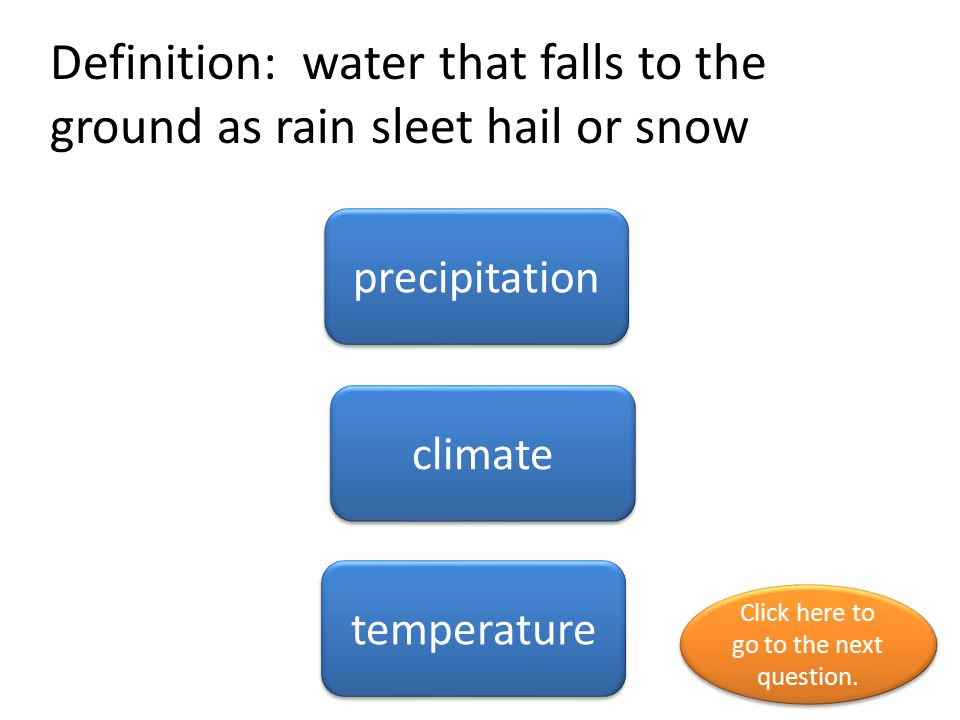 Definition: water that falls to the ground as rain sleet hail or snow
