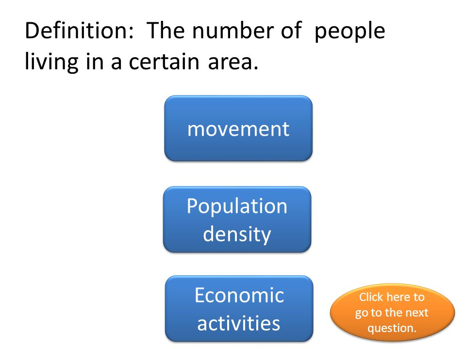 Definition: The number of people living in a certain area.