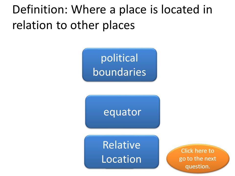 Definition: Where a place is located in relation to other places