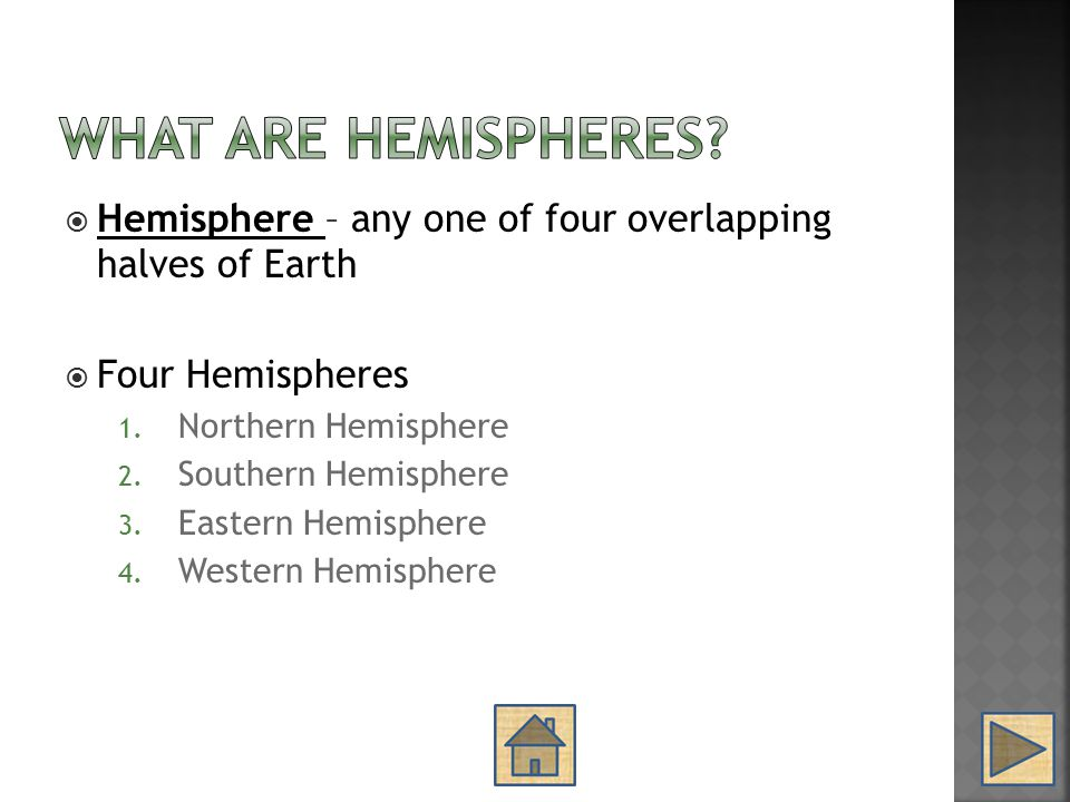 What are Hemispheres Hemisphere – any one of four overlapping halves of Earth. Four Hemispheres.