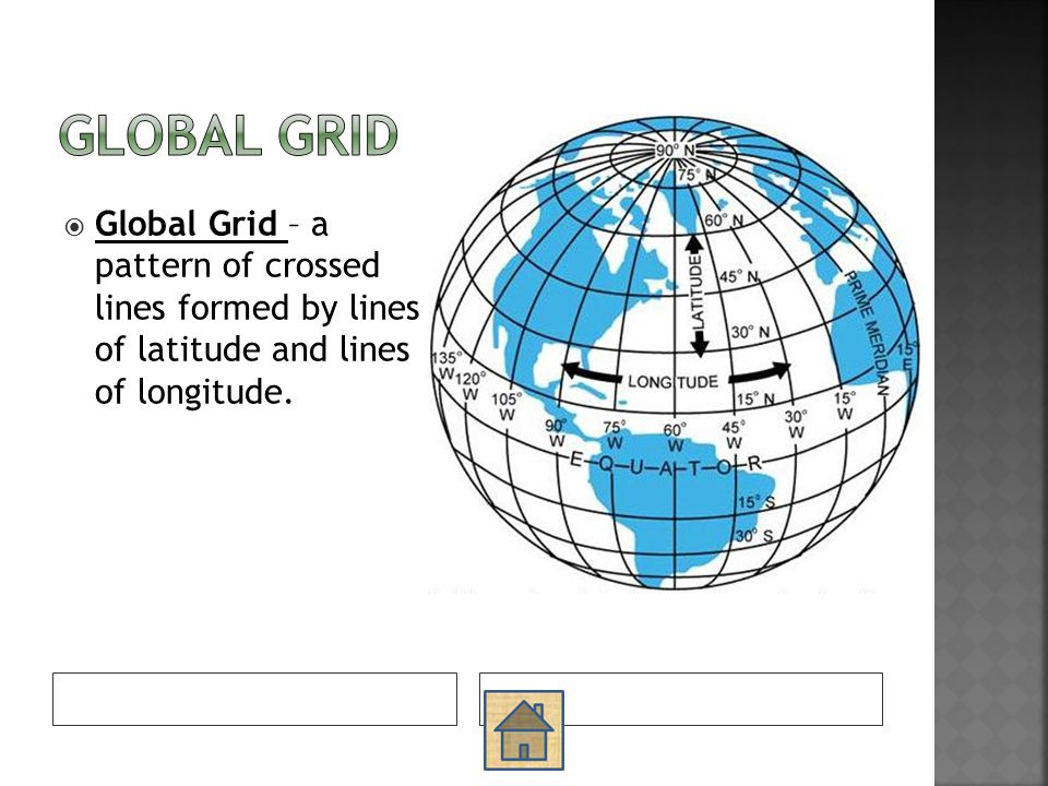 Global Grid Global Grid – a pattern of crossed lines formed by lines of latitude and lines of longitude.