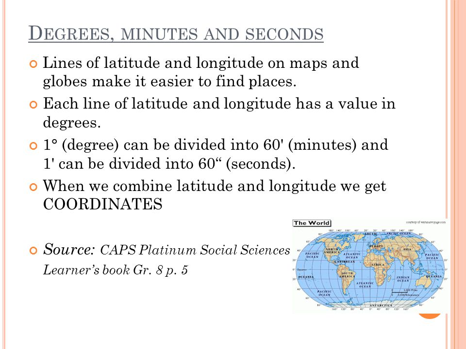 Degrees, minutes and seconds