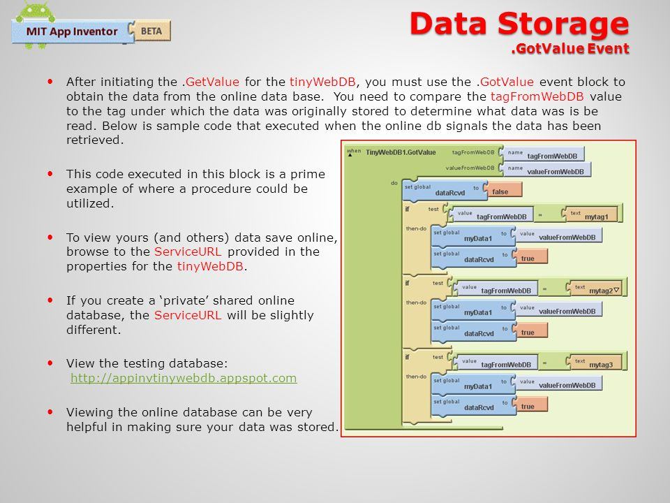 Data Storage .GotValue Event